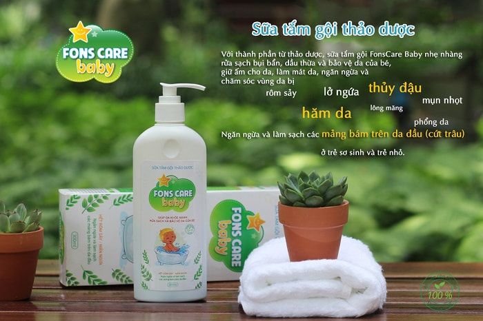 Sữa tắm gội thảo dược Fons Care Baby chăm sóc chăm sóc trẻ khi trời nồm ẩm